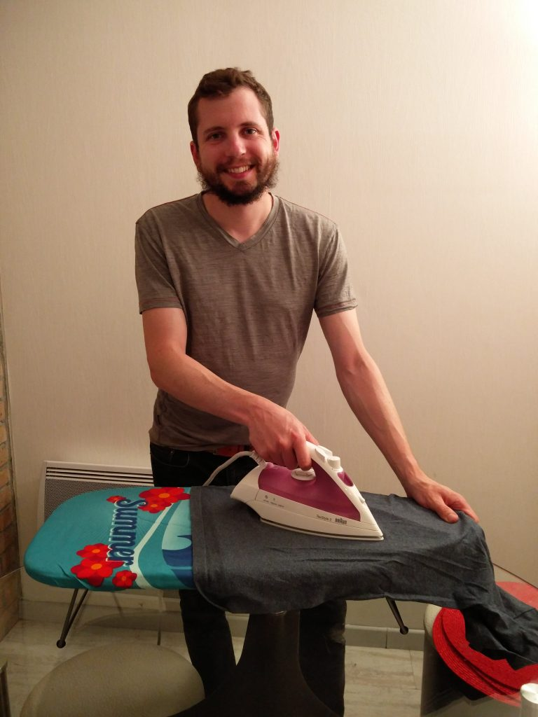 Tom ironing all of your clothes with tiny ironing board