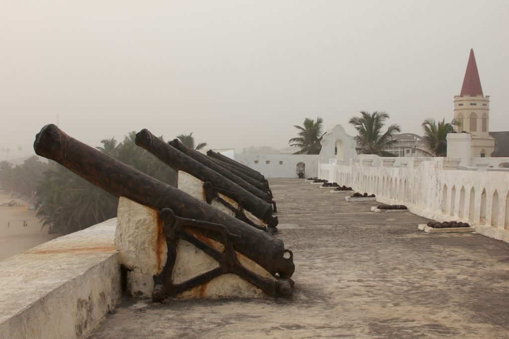 Cannons pointing out to sea in defence of the fort